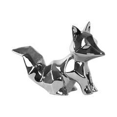 Ceramic Sitting Geometric Fox Figurine Polished Chrome Finish Silver