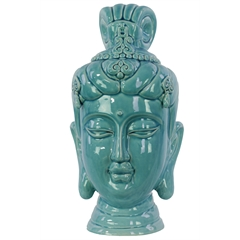 Ceramic Buddha Head Decor with Bun Ushnisha Gloss Finish Blue
