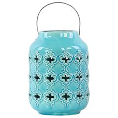 Ceramic Cylindrical Lantern with Cutout Walls and Metal Handle Gloss Finish Light Blue