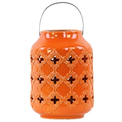 Ceramic Cylindrical Lantern with Cutout Walls and Metal Handle Gloss Finish Orange