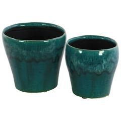 Ceramic Round Vase with Trumpet Mouth, Washed Design Body and Tapered Bottom Set of Two Gloss Finish Blue