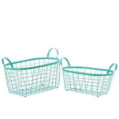 Metal Rectangular Wire Basket with Handles and Mesh Body Set of Two Coated Finish Blue