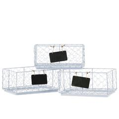 Metal Rectangular Wire Basket with Mesh Sides and Name Tags Assortment of Three Coated Finish Light Gray