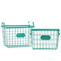 Metal Rectangular Wire Basket with Mesh Sides, Handles and Card Holders Set of Two Coated Finish Blue