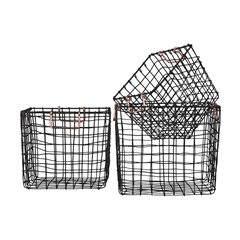 Metal Square Nesting Wire Basket with 2 Handles Set of Three Coated Finish Black