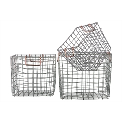 Metal Square Nesting Wire Basket with 2 Handles Set of Three Coated Finish Silver