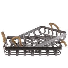 Metal Rectangular Basket with Rope Handle and Mesh Design Bo
