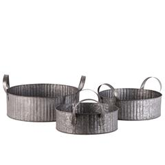 Metal Round Basket with Side Handles Set of Three Galvanized