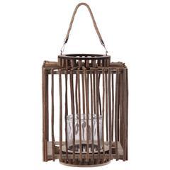 """Wood  Lantern Natural Finish Brown 14.5"""""""