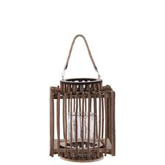 """Wood  Lantern Natural Finish Brown 10.75"""""""