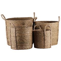 "Maise  Basket Natural Finish Brown 15.5"""