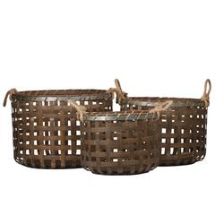 "Bamboo  Basket Natural Finish Brown 13.25"""