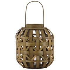 """Wood  Lantern Natural Finish Brown 17"""""""