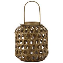 """Wood  Lantern Natural Finish Brown 17.25"""""""