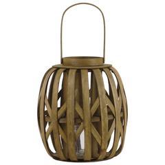 """Wood  Lantern Natural Finish Brown 12"""""""