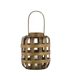 """Wood  Lantern Natural Finish Brown 10.5"""""""