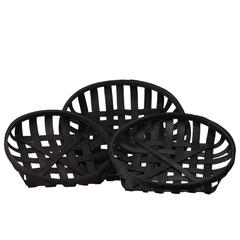 """Wood  Basket Painted Finish Black 3.75"""""""