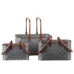 "Metal  Basket Galvanized Finish Multi-Colored 7.5"""