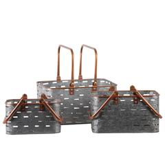Metal Rectangular Basket with Copper Rounded Edge Rim and Ha