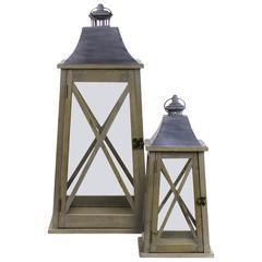 """Metal  Lantern Natural Finish Brown 27.25"""""""