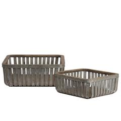 Metal Sqaure Basket with Wood Lip and Surface Set of Two Gal