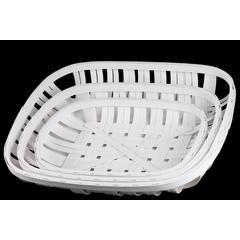 """Wood  Basket Painted Finish White 4.75"""""""