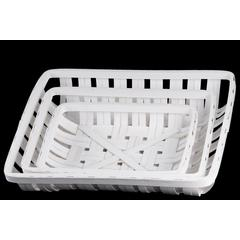 Wood Rectangle Tobacco Basket with Lattice Design Set of Thr