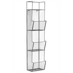 Metal Wall Rack with Mesh Sides, 3 Bins and Top Shelf Coated Finish Gun Metal Gray