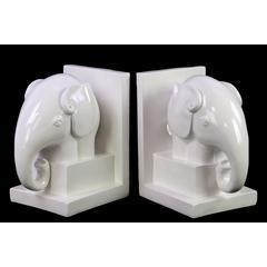 """Ceramic Elephant BookendBox Gloss Finish White 7.5"""""""