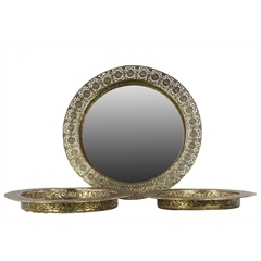 Metal Round Tray with Mirror Surface and Pierced Metal Frame Set of Three Electroplated Finish Gold