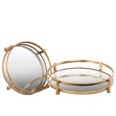 Metal Round Tray with Beveled Mirror Surface Set of Two Tarnished Finish Gold