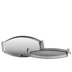 Metal Elliptical Tray with Mirror Surface, Curved Metal Handles and Pierced Metal Sides Set of Two Electroplated Finish Silver