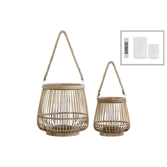 Bamboo Round Lantern with Rope Hangers Set of Two Natural Wood Finish Brown