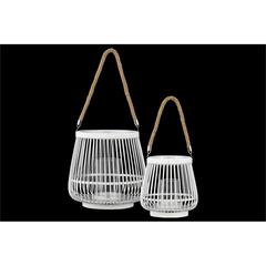 Bamboo Round Lantern with Rope Hangers Set of Two Painted Finish White