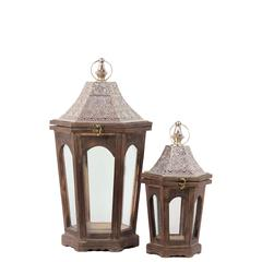 Wood Hexagonal Lantern with Pierced Metal Top and Ring Hanger Set of Two Weathered Wood Finish Brown