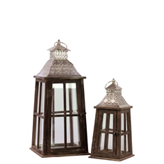 Wood Square Lantern with Silver Pierced Metal Top, Ring Hanger and Glass Windows Set of Two Stained Wood Finish Brown