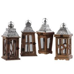 Wood Square Lantern with Silver Pierced Metal Top, Ring Hanger and Glass Windows Assortment of Four Stained Wood Finish Brown