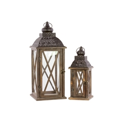 Wood Square Lantern with Black Pierced Metal Top, Ring Hanger and Glass Windows Set of Two Natural Wood Finish Brown