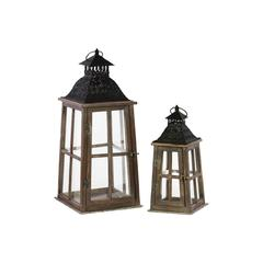 Wood Lantern with Ring Hanger and Black Metal Top Set of Two Stained Wood Finish Espresso Brown