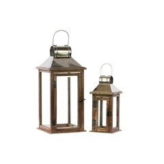 Wood Square Lantern with Chrome Silver Metal Top, Ring Hanger and Glass Windows Set of Two Stained Wood Finish Brown