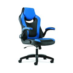 basyx by HON Racing Gaming Computer Chair- Flip-Up Arms, Black and Blue