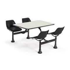 Cluster Table with Laminate top - 24 x 48, Black Seats, Beige Nebula Top