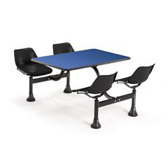 OFM Cluster Table with Laminate top - 24 x 48, Black Seats, Blue Top