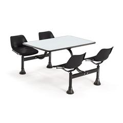 OFM Cluster Table with Laminate top - 24 x 48, Black Seats, Gray Nebula Top