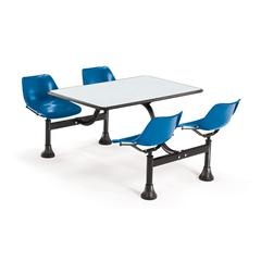 OFM Cluster Table with Laminate top - 24 x 48, Blue Seats, Gray Nebula Top