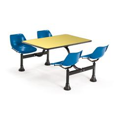 OFM Cluster Table with Laminate top - 24 x 48, Blue Seats, Yellow Top