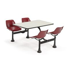 OFM Cluster Table with Laminate top - 24 x 48, Maroon Seats, Beige Nebula Top