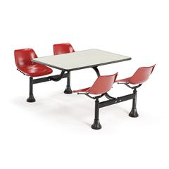 OFM Cluster Table with Laminate top - 24 x 48, Red Seats, Beige Nebula Top