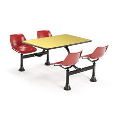 OFM Cluster Table with Laminate top - 24 x 48, Red Seats, Yellow Top