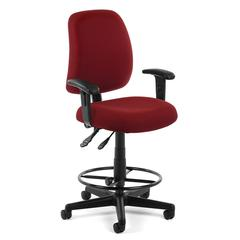 OFM Posture Task Chair with Arms and Drafting Kit, Wine
